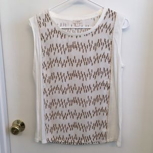 White & gold patterned J.Crew tank top.